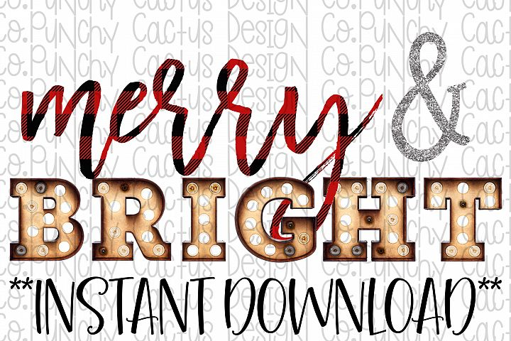 Merry & Bright Sublimation Download, Christmas