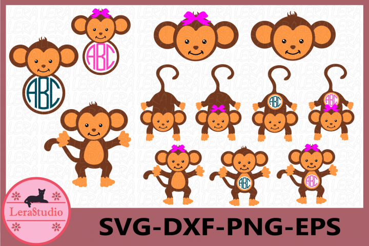 Monkeys SVG, Girl Monkey Svg Cut Files, Monkeys Monogram
