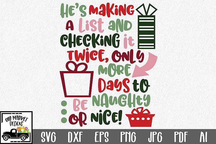 Christmas Countdown SVG Cut File - Naughty or Nice SVG