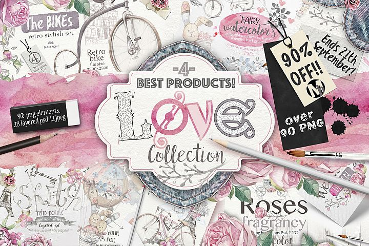 90%OFF ! Love collection 90 PNG elements