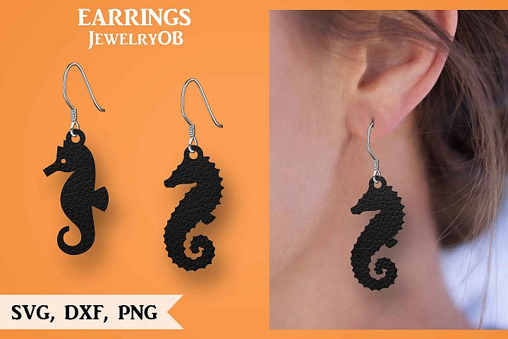 Seahorse Earring, Silhouette Cameo, Cricut, Cut, SVG DXF PNG