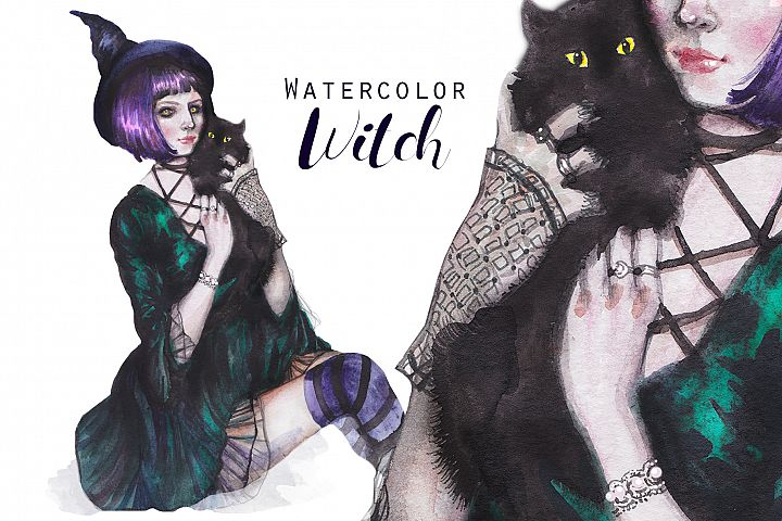 Halloween witch with black cat, watercolor portrait