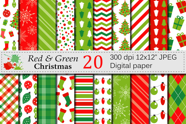 Red and Green Christmas Digital Paper Set