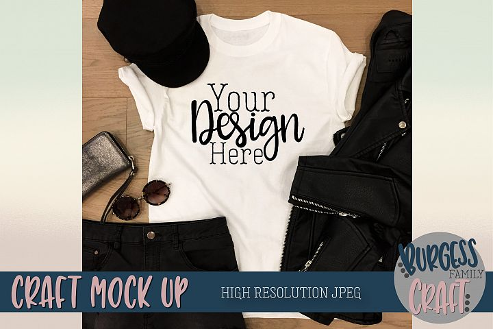 Leather jacket t-shirt Craft Mock up | High Resolution JPEG