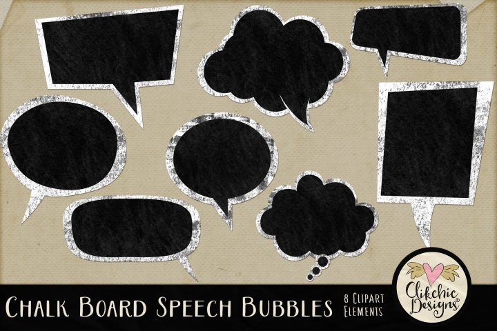 Speech Bubbles - Chalk Board Speech Bubble Clipart Elements