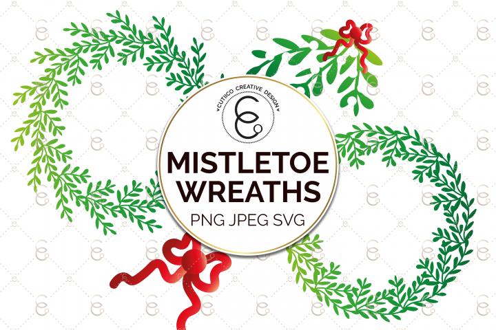 Mistletoe Wreath Clip Art