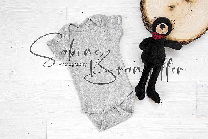 Styled Stock Photo Gray Baby Boy Bodysuit Mockup