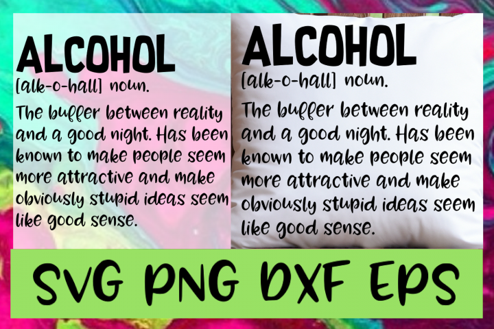 Alcohol Definition SVG PNG DXF & EPS Design / Cut Files