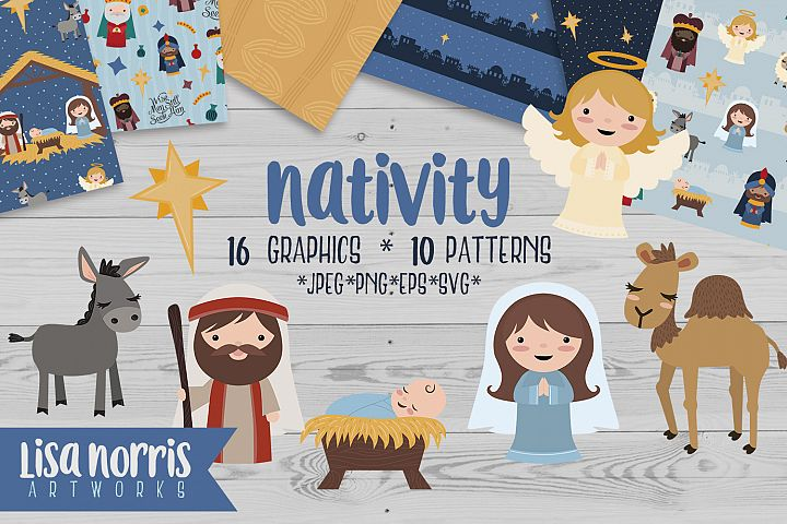 Nativity Clip Art, Patterns, & SVG Cutting Files