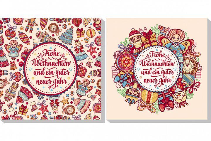 Christmas logo. Frohe Weihnacht. Neues Jahr. Happy Christmas in Deutschland.