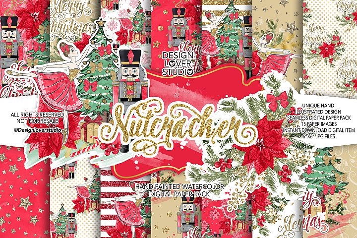 Nutcracker Red digital paper pack, christmas flower