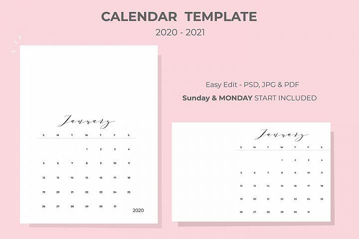 2020-2021 Calendar Template