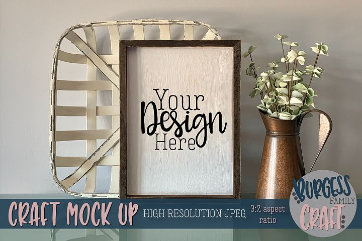 Vertical rustic basket sign Craft mock up | High Res JPEG