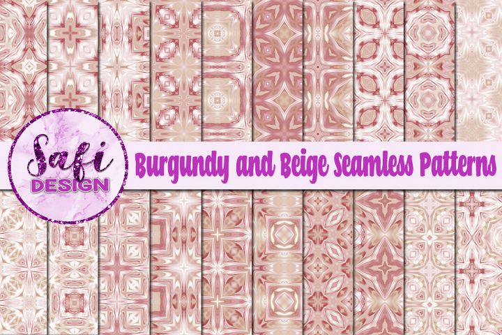 Burgundy and Beige Seamless Patterns