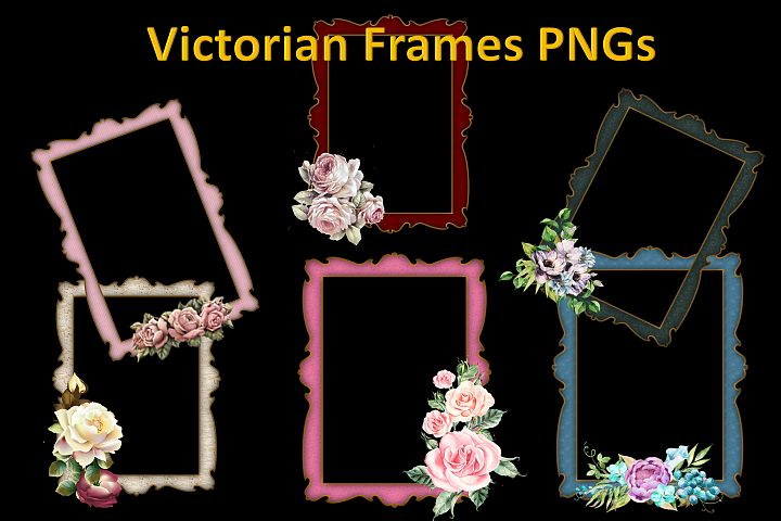 12 Victorian Frames PNG Commercial Use