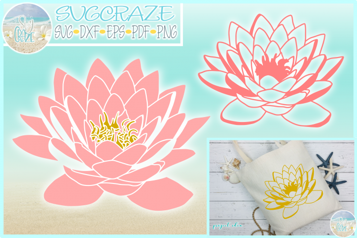 Lotus Water Lily SVG Dxf Eps Png PDF Files For Cricut Silhou