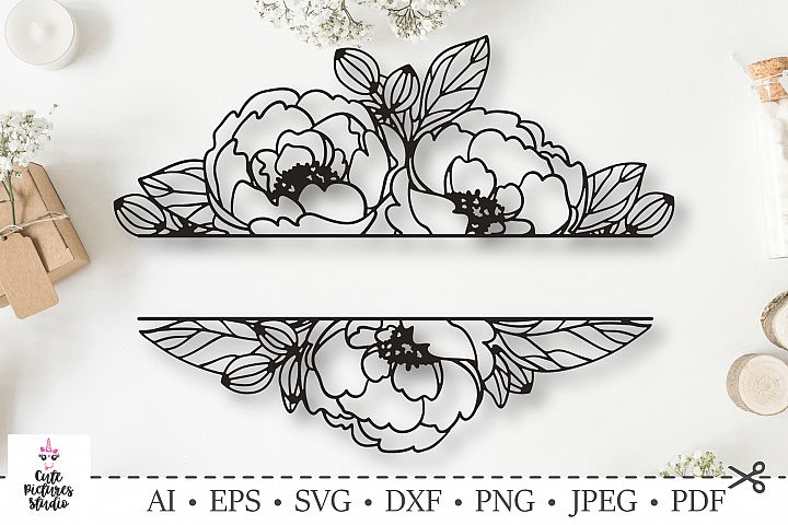 Wedding monogram frame with peony flowers. SVG DXF cut file.