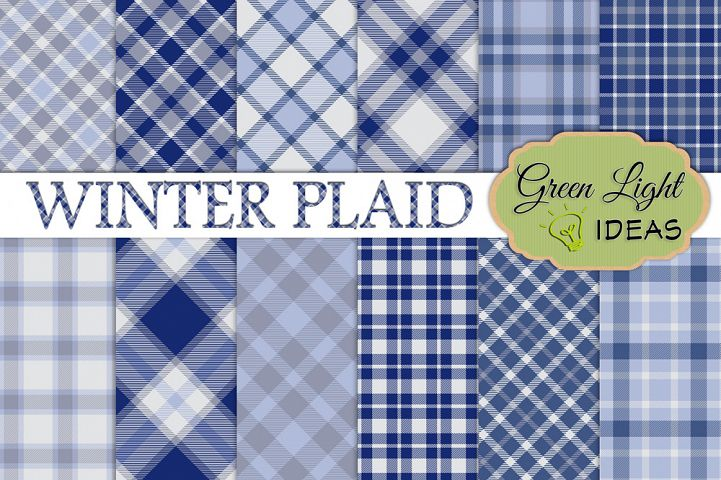 Winter Plaid Digital Papers, Plaid Backgrounds