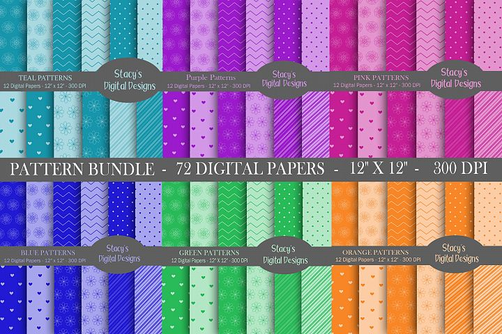 Digital Paper Bundle - 72 Digital Papers, patterns