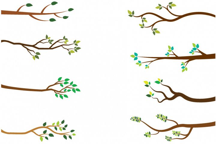 Tree branches clipart, Green leaves branch clip art spring