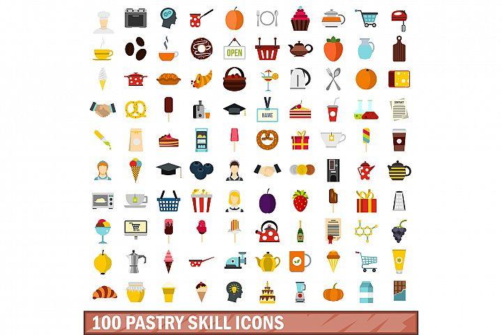 100 pastry skill icons set, flat style