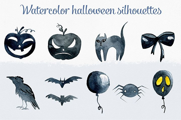 Watercolor halloween silhouettes