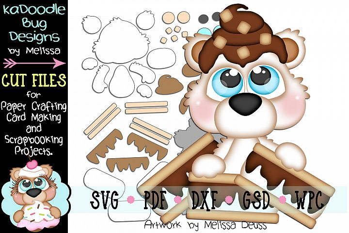 Yummy Smores Bear Cut File - SVG PDF DXF GSD WPC