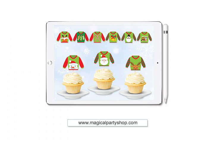 Christmas Ugly Sweater Cupcake Toppers Svg Print and Cut, Cu