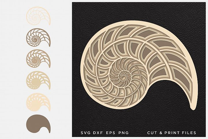 Nautilus svg, Cut file Mandala, Multilayer, Layered svg