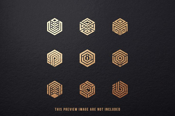 9 Hexagon Logo Conceptual Icon Symbols