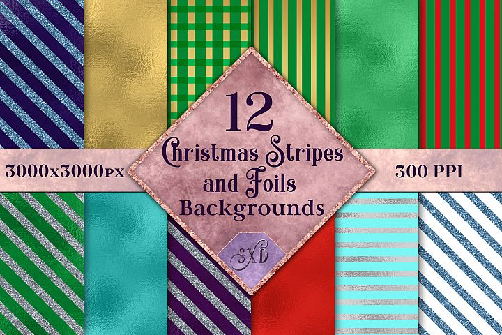 Christmas Stripes and Foils Backgrounds - 12 Image Textures