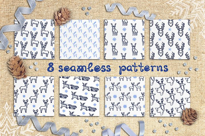 8 hand drawn seamless patterns with Christmas deer