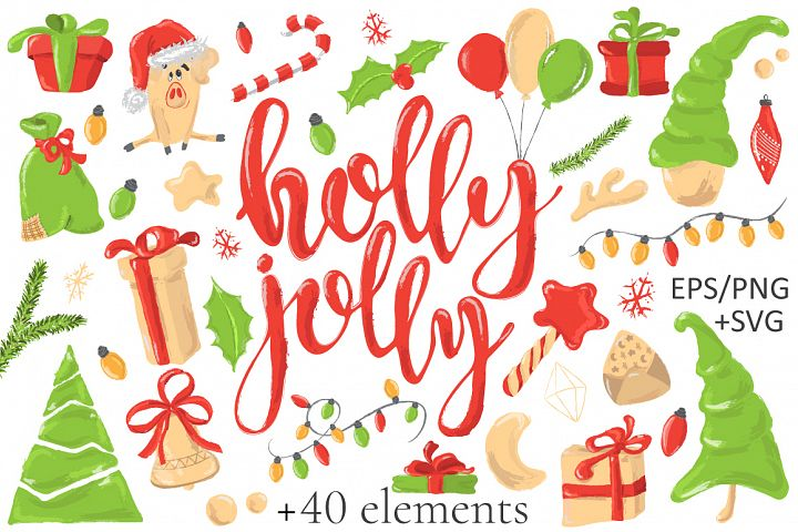 Christmas vector & SVG decoration clipart Holly Jolly