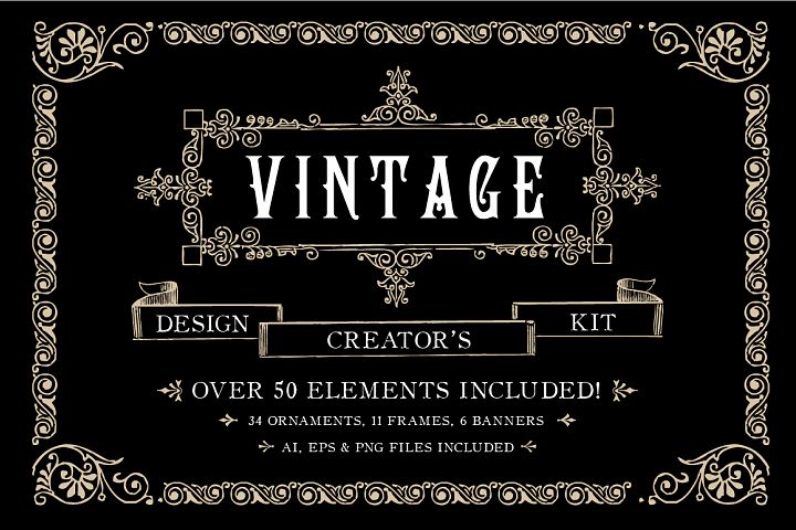 Vintage Ornament Design Creators Kit - AI EPS PNG
