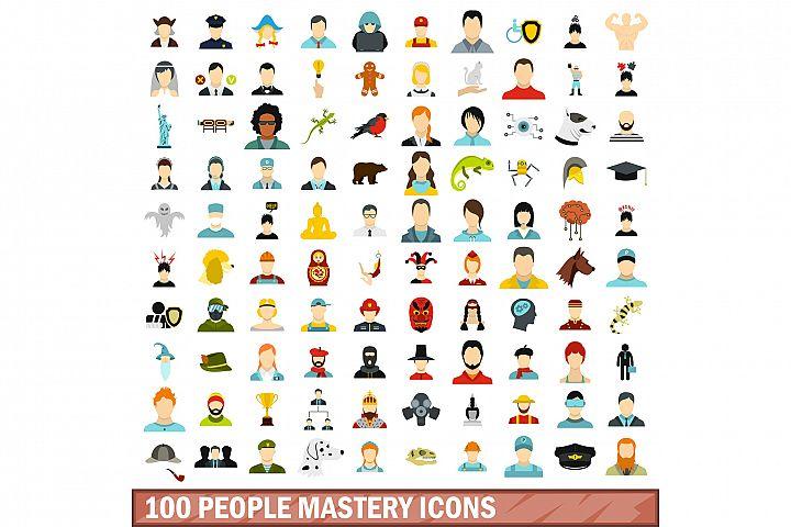 100 people mastery icons set, flat style