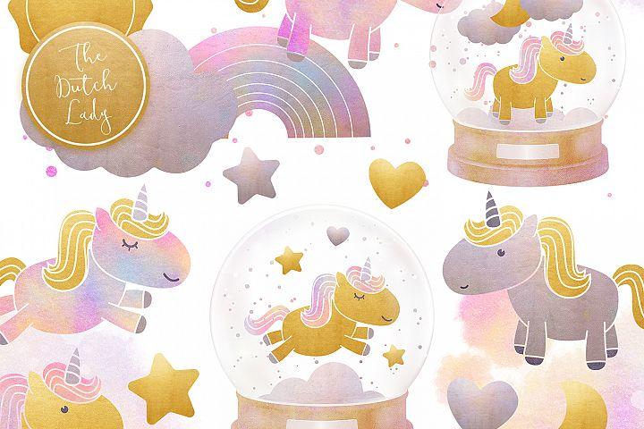 Unicorns & Snowglobes Clipart Set