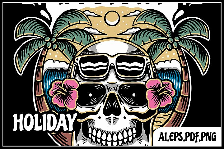 holiday skull illustration