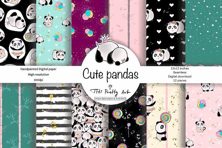 Cute Pandas Digital Paper, Panda Background