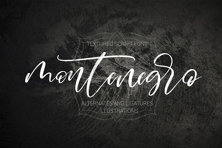 Montenegro textured script font