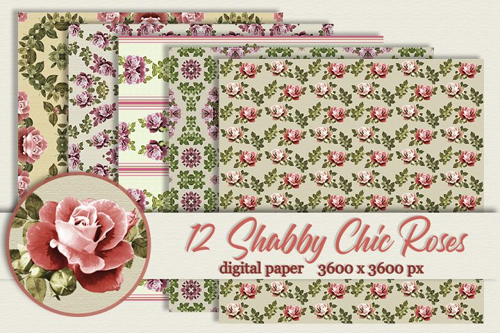 12 Shabby Chic Pink Roses digital paper Background