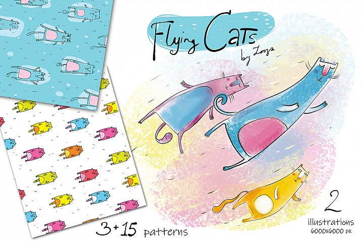 Flying Cats - patterns, illustrations