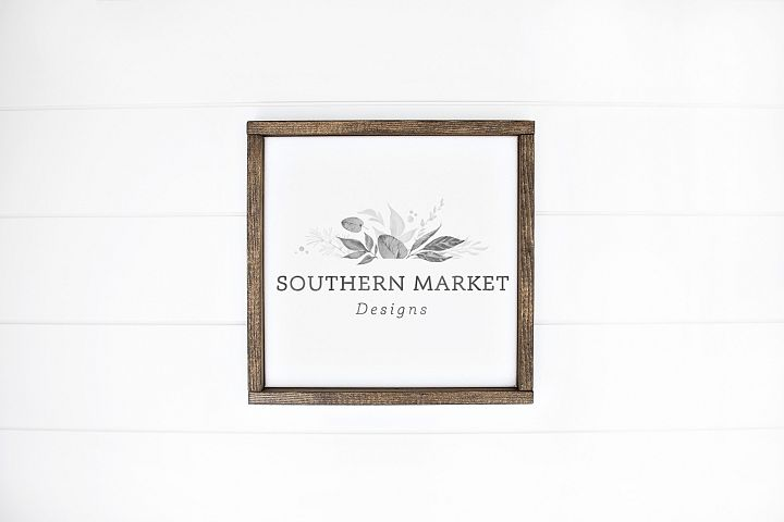 12x12 Wood Sign Mock Up Styled Stock Photo