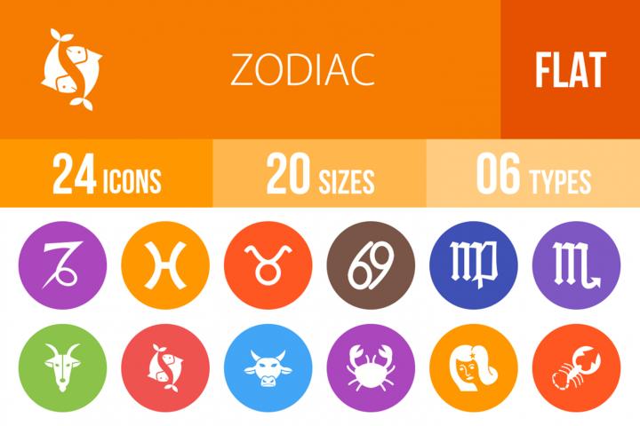 24 Zodiac Flat Round Icons
