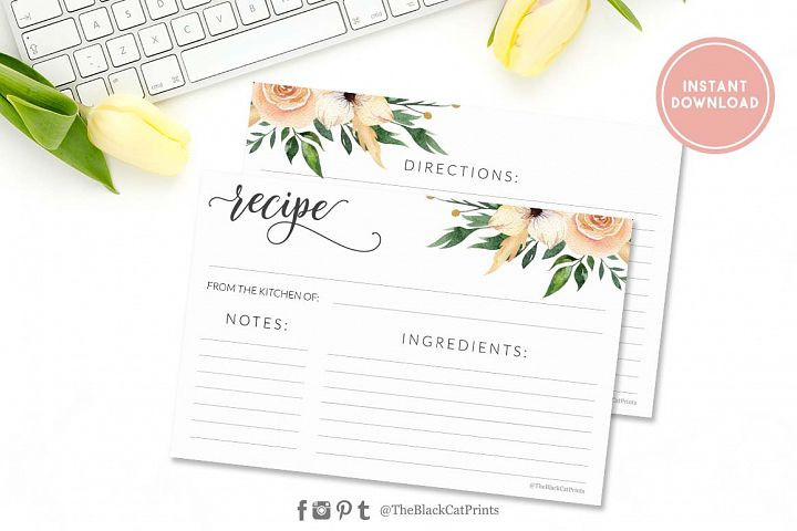Floral Watercolor Recipe card | Printable | Double Sided