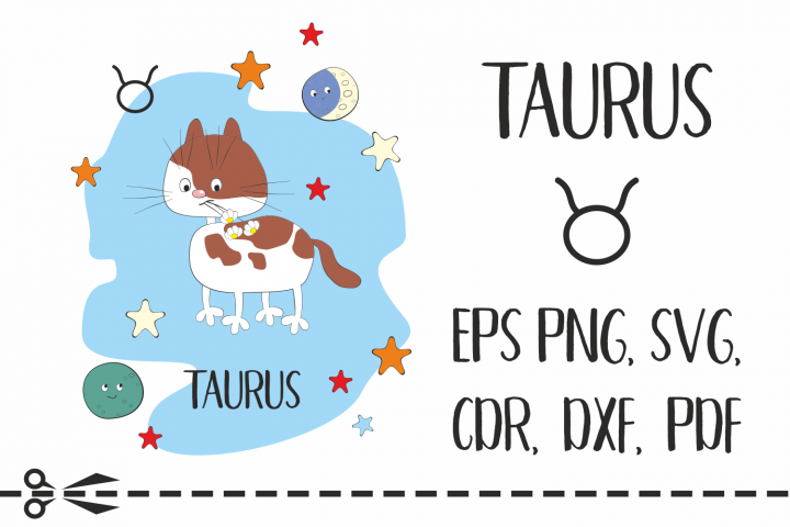 Taurus. Zodiac sign with funny cat