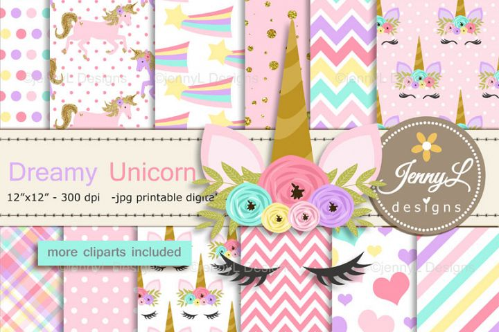 Unicorn Faces Digital Papers and Unicorn Clipart SET