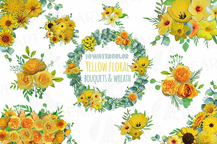 Yellow floral bouquets and wreath clip art, yellow flowers