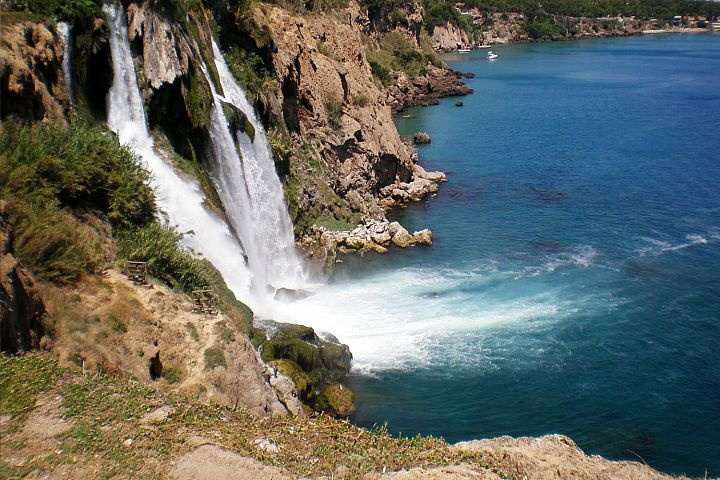 Turkish waterfall Duden in city Antalya