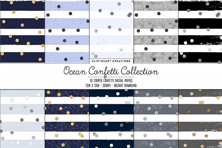 Blue Ocean Confetti Sparkle Digital Papers