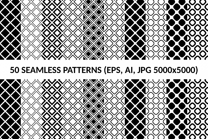 50 Seamless Square Patterns AI, EPS, JPG 5000x5000